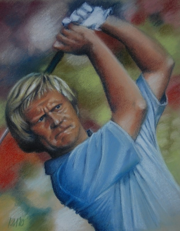 Jack Nicklaus, color pastel on paper, 2010