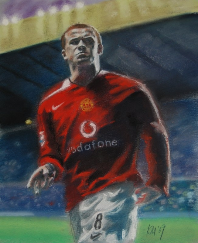 Wayne Rooney, color pastel on paper, 2009